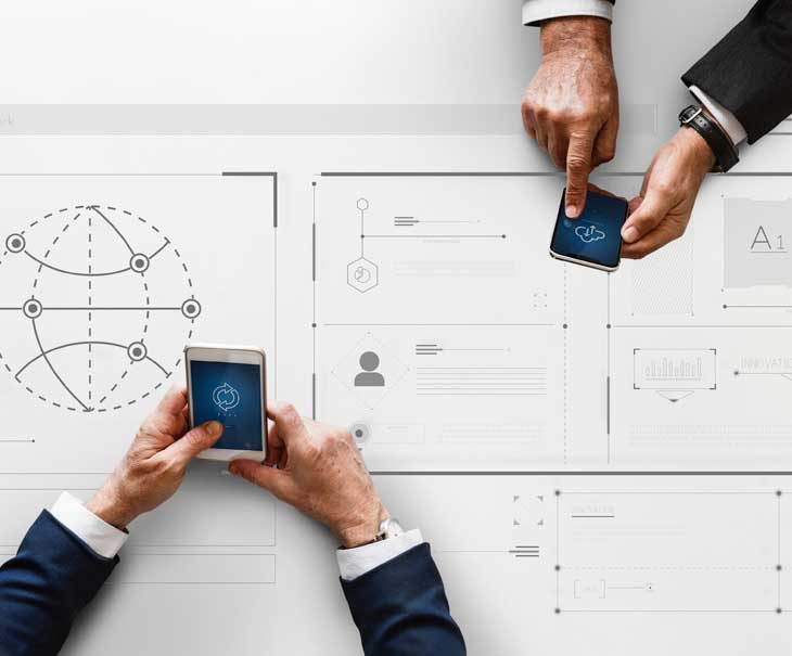 engineers using mobile devices and cloud technology