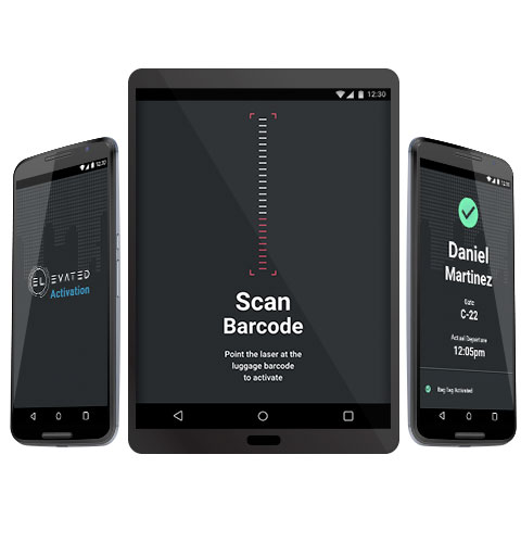 Three android devices with the three main screens: app launch screen, scan barcode screen and passenger recognition and tag activation screen